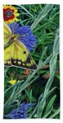 Butterfly And Wildflowers Spring Floral Garden Floral In Green And Yellow - Square Format Image Beach Towel