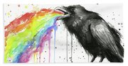 Raven Tastes The Rainbow Beach Towel