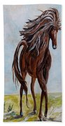 Splashing The Light - A Young Horse Beach Towel