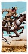 Pony Express Rider Historical Americana Painting Desert Scene Beach Towel
