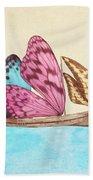 Butterfly Ship Beach Towel by Eric Fan