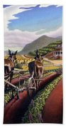 Appalachian Folk Art Summer Farmer Cultivating Peas Farm Farming Landscape Appalachia Americana Beach Towel