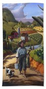 Boy And Dog Farm Landscape - Flashback - Childhood Memories - Americana - Painting - Walt Curlee Beach Towel