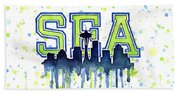 Seattle Watercolor 12th Man Art Painting Space Needle Go Seahawks Beach Towel