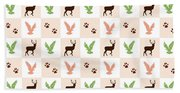 Rustic Wildlife Pattern Beach Towel