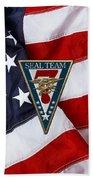 U. S. Navy S E A Ls - S E A L Team Seven  -  S T 7  Patch Over U. S. Flag Beach Towel