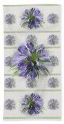 Blue Purple Flowers Beach Towel