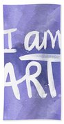 I Am Art Painted Blue And White- By Linda Woods Beach Towel