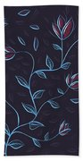 Glowing Blue Abstract Flowers Beach Towel