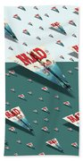 180 Mad Paper Airplanes Beach Towel