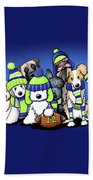 12 Dogs On Blue Beach Towel