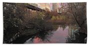 Austin Hike And Bike Trail - Train Trestle 1 Sunset Triptych Right Beach Sheet