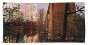 Austin Hike And Bike Trail - Train Trestle 1 Sunset Triptych Middle Beach Towel