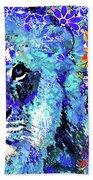 Beauty And The Beast - Lion Art - Sharon Cummings Beach Sheet