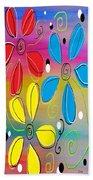Bright Flowers Intertwined Beach Towel