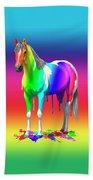Colorful Rainbow Paint Horse Beach Towel