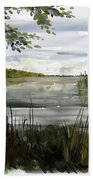 Quiet Day By Lake Beach Towel