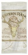 Western Range 3 Old West Deer Skull Wooden Sign Trading Company Beach Towel