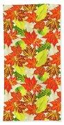 Fall Leaves Pattern Beach Towel