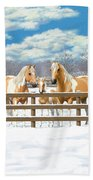 Palomino Paint Horses In Snow Beach Towel by Crista Forest