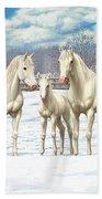 White Horses In Winter Pasture Beach Sheet