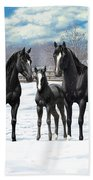 Black Horses In Winter Pasture Beach Towel