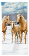Palomino Horses In Winter Pasture Beach Sheet