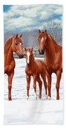 Chestnut Horses In Winter Pasture Beach Towel