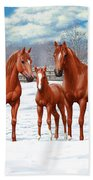 Chestnut Horses In Winter Pasture Beach Sheet