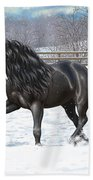 Black Friesian Horse In Snow Beach Towel