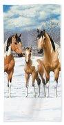 Buckskin Paint Horses In Winter Pasture Beach Sheet by Crista Forest