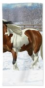 Bay Pinto Gypsy Vanner In Snow Beach Towel