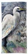 Silver Lake Snowy Egret Beach Towel