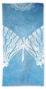 Bohemian Ornamental Butterfly Deep Blue Ombre Illustratration Beach Towel