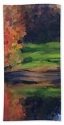 Autumn By Water Beach Towel