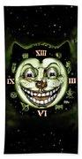 Black Cat 13 Halloween Clock Beach Towel