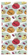 Black Cherry Pie And A Steaming Hot Cup Of Coffee Beach Towel