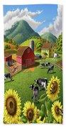 Sunflowers Cows Appalachian Farm Landscape - Rural Americana - Farm Animals - 1950 Farm Life - Barn Beach Towel