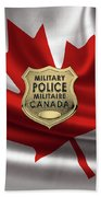 Canadian Forces Military Police C F M P  -  M P Officer Id Badge Over Canadian Flag Beach Towel