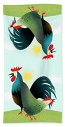 Morning Glory Rooster And Hen Wake Up Call Beach Towel