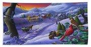 Christmas Sleigh Ride Winter Landscape Oil Painting - Cardinals Country Farm - Small Town Folk Art Beach Towel