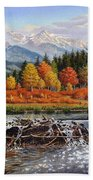 Western Mountain Landscape Autumn Mountain Man Trapper Beaver Dam Frontier Americana Oil Painting Beach Towel