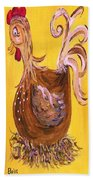 Hen Nesting Beach Towel by Eloise Schneider