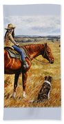 Horse Painting - Waiting For Dad Beach Towel by Crista Forest