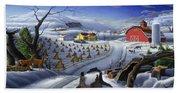 Folk Art Winter Landscape Beach Sheet