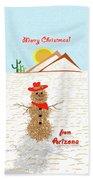Arizona Tumbleweed Snowman Beach Towel