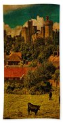 Arundel Castle With Cows Beach Towel