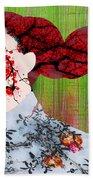 Asian Flower Woman Red Beach Towel