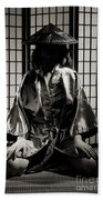 Asian Woman In Kimono Beach Towel