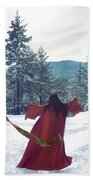 Asian Woman In Red Kimono Dancing On The Snow In The Forest Beach Towel